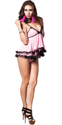 Women's Sexy Sweet Baby Pink Mesh and Black Lace Babydoll and Thong Lingerie Set - Front Image