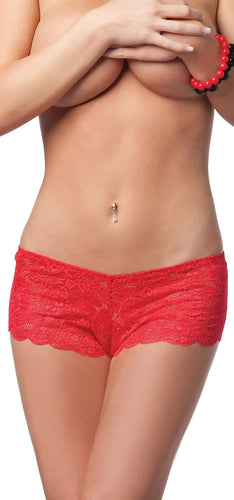 Women's Sexy Red Lace Cheeky Style Panties Front Image