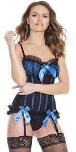 Sexy Electric Blue and Black Mesh Ruffled Corset Front Image