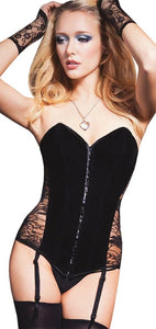 Women's Sexy Black Velveteen and Lace Corset Front Image