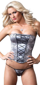 Sexy Silver and Black Brocade Women's Corset Front Image