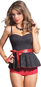 Black and White Pinstriped Babydoll with Red Bow Front Image