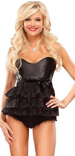 Ruffled Black Lace and Satin Women's Babydoll Front Image