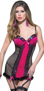 Fuchsia Pink Velvet and Black Fishnet Women's Chemise Front Image