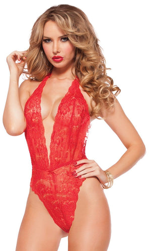 Sexy Red Lace Teddy with Gold Lurex Detail and Plunging Neckline