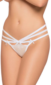 Strappy White Floral Lace Women's Lingerie Thong