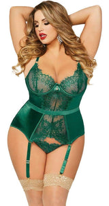 Emerald Green Satin and Lace Plus Size Bustier Front View