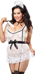 Sexy White Lace Plus Size French Maid Lingerie Front Image