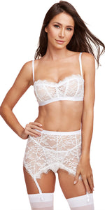 Women's Sexy White Shimmer Lace Bra and Garter Skirt Lingerie Set by Dreamgirl - Close Front Image