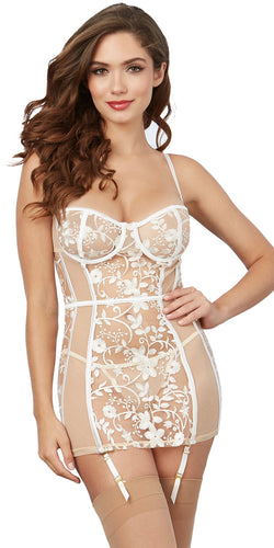 Women's Sexy Sheer Nude Mesh Garter Chemise with White Embroidery, by Dreamgirl - Close Front Image