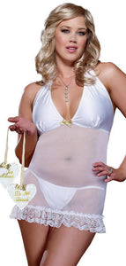 White Satin Sexy Plus Size Bridal Chemise