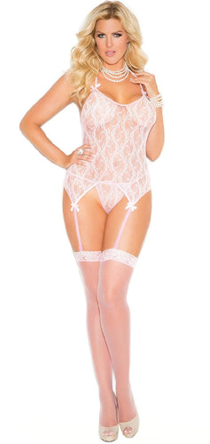 Plus Size Pink Camisette, G-String and Stocking Set Full Front View