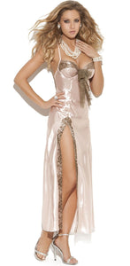 Sexy Champagne Pink Satin Lingerie Gown For Women