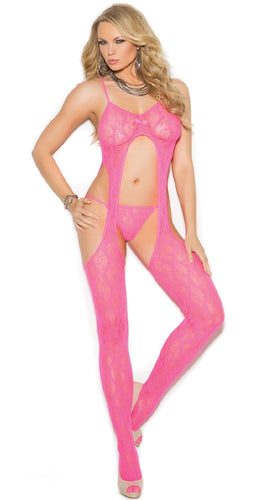 Sexy Women's Neon Pink Floral Lace Suspender Bodystocking With Matching G-String Main Image