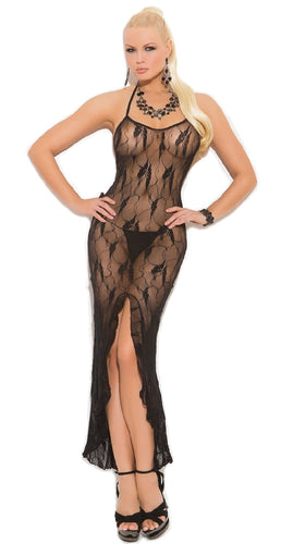 Sexy Long Black Lace Stretch Lingerie Gown Dress With Front Ruffle Split Main Image