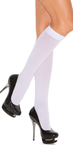 Plus Size Women's Sexy White Opaque Knee High Lingerie Stockings Main Image