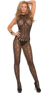 Sexy Black Open Crotch Swirl Lace Body Stocking Front Image