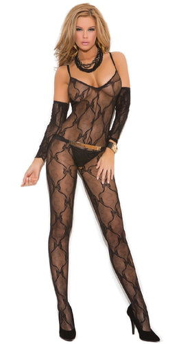 Sexy Black Bow Tie Lace Women's Body Stocking Front Image
