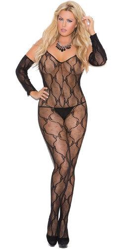 Open Crotch Plus Size Black Lace Bow Tie Bodystocking Front Image