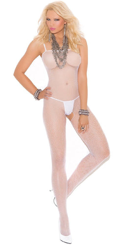 Women's White Fishnet Open Crotch Seamless Bodystocking Lingerie Main Image