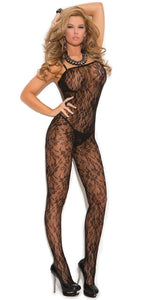 Black Floral Pattern Women's Crotchless Bodystocking Front Image