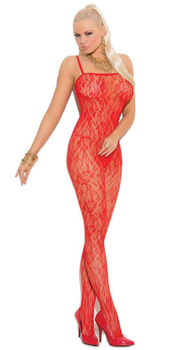 Open Crotch Women's Red Rose Bodystocking Front Image