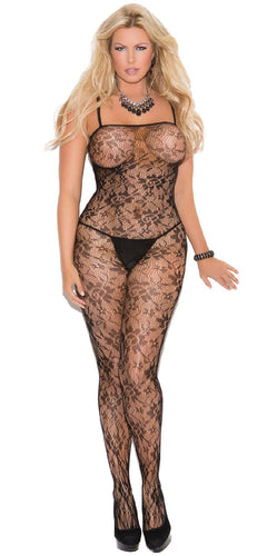 Sexy Plus Size Black Rose Bodystocking Lingerie Front Image