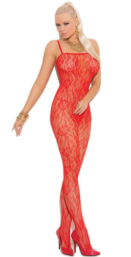 Plus Size Red Floral Lace Pattern Body Stocking Front Image