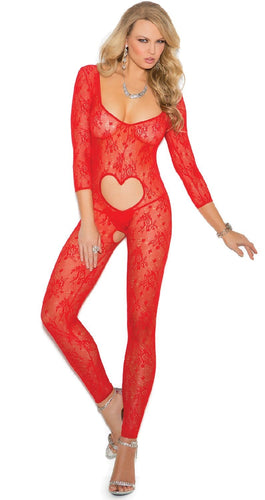 Red Floral Lace Heart Cut Out Full Length Crotchless Bodystocking Valentine's Day Lingerie For Women Main Image