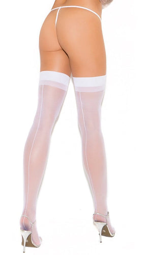 Women's Opaque White Thigh High Lingerie Stockings With Back Seam Main Image