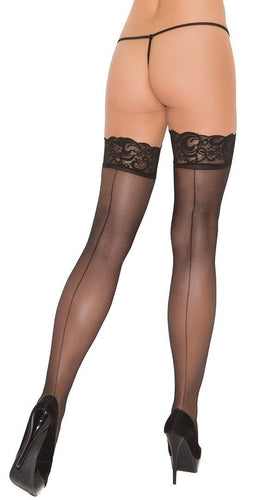 Women's Sexy Sheer Black Lace Top Thigh Highs with Backseam Close Back Image