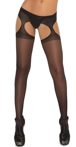 Women's Sexy Sheer Black Full Length Suspender Pantyhose Close Image