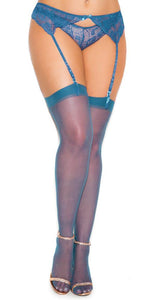 Sheer Navy Blue Women's Thigh High Stockings