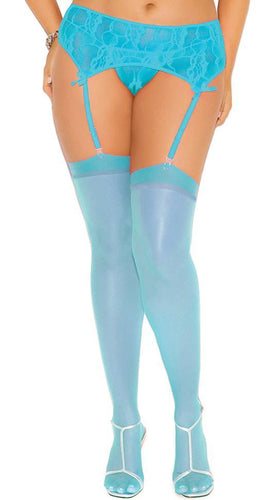 Women's Sky Blue Sexy Thigh High Sheer Stockings Close Image