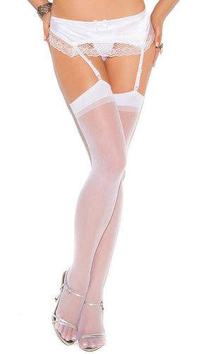 Women's Sexy Sheer White Thigh Highs Main Image