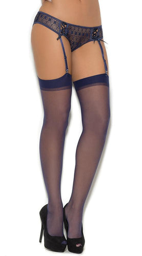 Midnight Blue Sexy Sheer Thigh High Lingerie Stockings Front Image