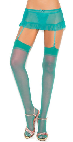 Plus Size Sheer Turquoise Green Thigh Highs Close Image