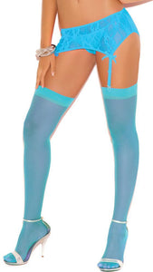 Crystal Blue Plus Size Thigh High Lingerie Stockings Main Image