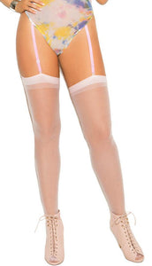 Sexy Sheer White Plus Size Thigh High Stockings Close Image