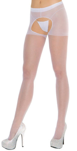 Women's Sheer White Crotchless Pantyhose Close Image
