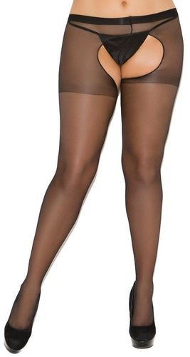 Sheer Plus Size Women's Crotchless Stockings Close Front Image