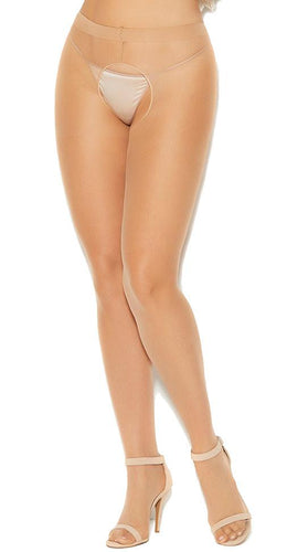 Plus Size Sheer Nude Crotchless Pantyhose Close Front Image