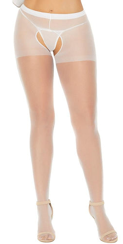 Plus Size Sheer White Open Crotch Stockings Close Front Image