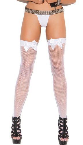 White Fishnet Sexy Thigh Highs with Bows Close Front Image