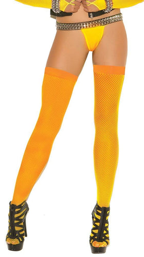 Sexy Neon Orange Fishnet Thigh Highs Main Image