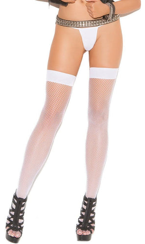 Plain Top White Fishnet Women's Thigh High Stockings