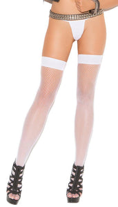 Plain Top White Fishnet Plus Size Thigh High Stockings