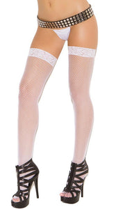Sexy Lace Top Women's White Thigh High Stockings Main Image