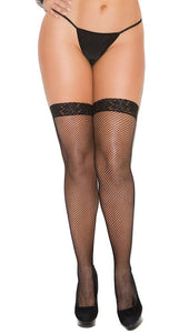 Plus Size Sexy Black Fishnet Lace Top Thigh Highs Close Front Image