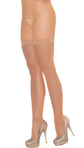 Sexy Plus Size Beige Fishnet Thigh Highs with Lace Top Close Front Image